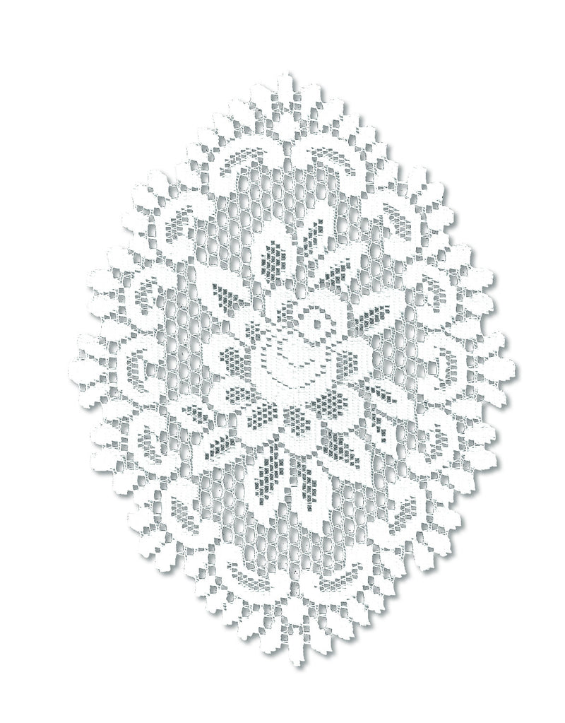 Rose 12X16 Oval Doily, Off White