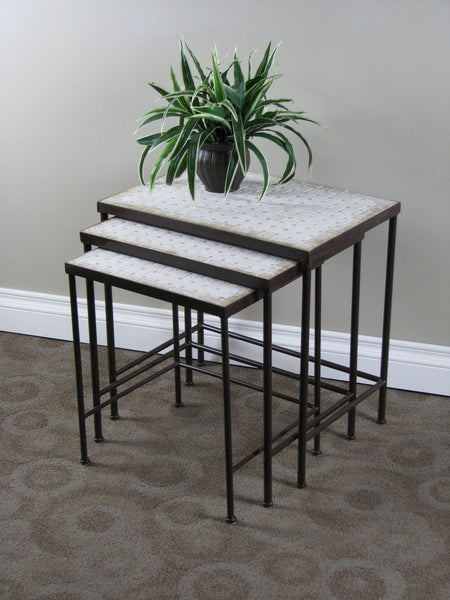 Michael Anthony Furniture 3 Piece Travertine Nesting Tables