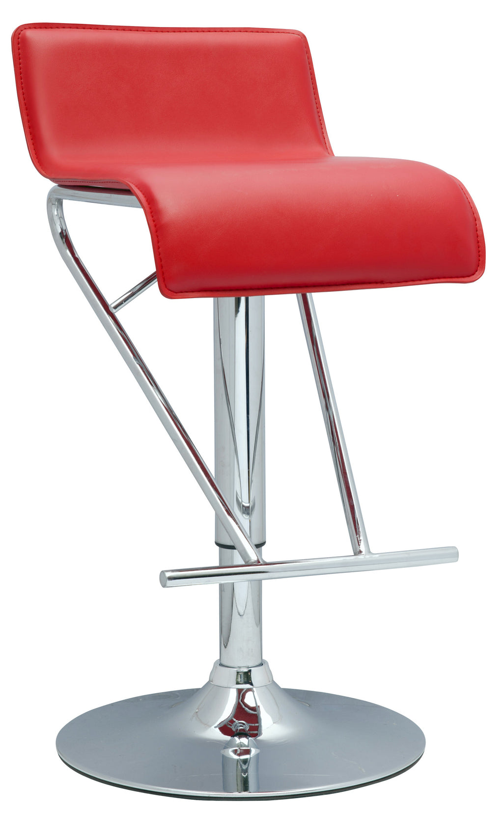 Red Pneumatic Gas Lift Adjustable Height Swivel Stool