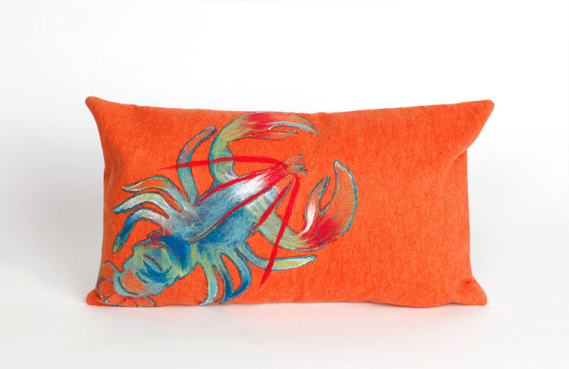 "Lobster Orange 12"" x 20"" Indoor Outdoor Pillow"
