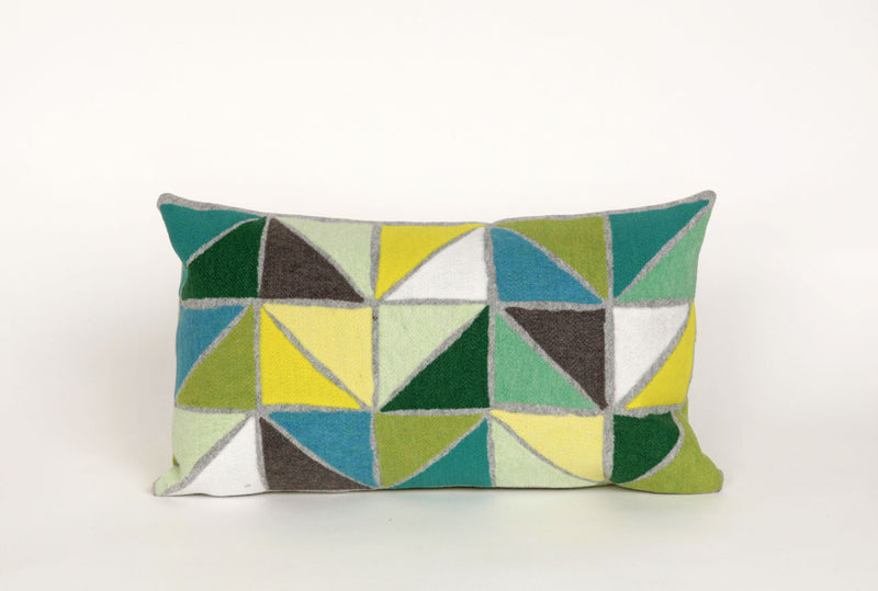 "Triangles Lime 12"" x 20"" Indoor Outdoor Pillow"