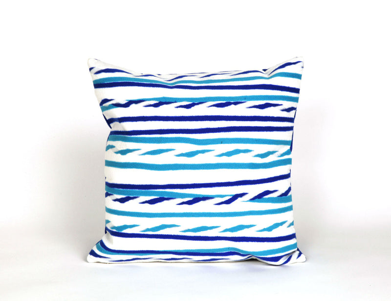 "Twist Stripe Sky 20"" Square Indoor Outdoor Pillow"