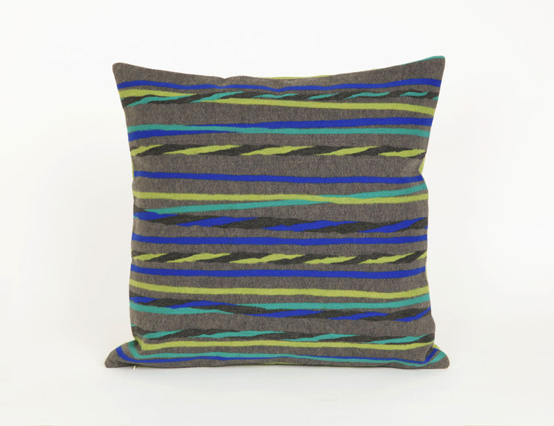 "Twist Stripe Grey/Cool 20"" Square Indoor Outdoor Pillow"
