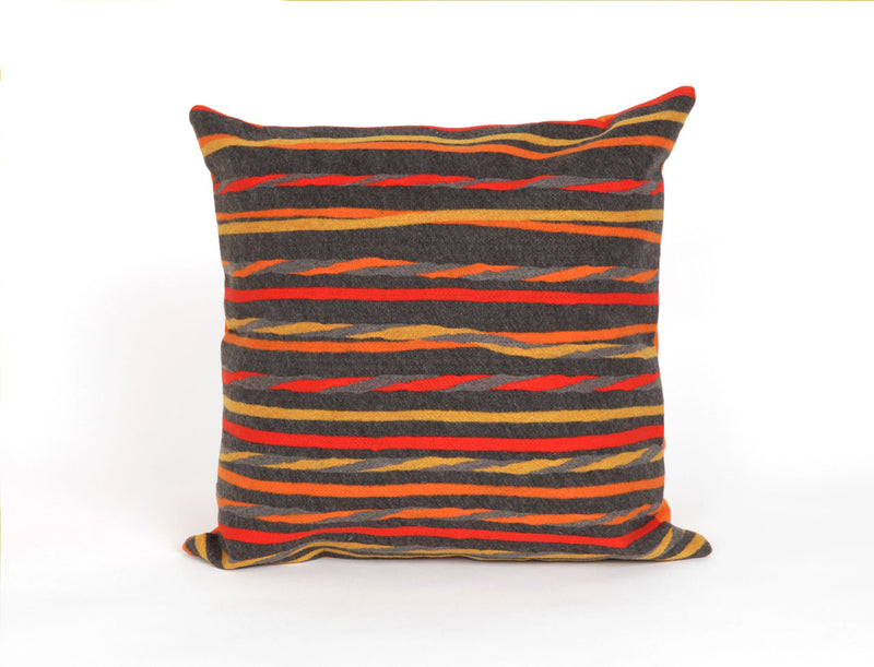 "Twist Stripe Grey/Warm 20"" Square Indoor Outdoor Pillow"