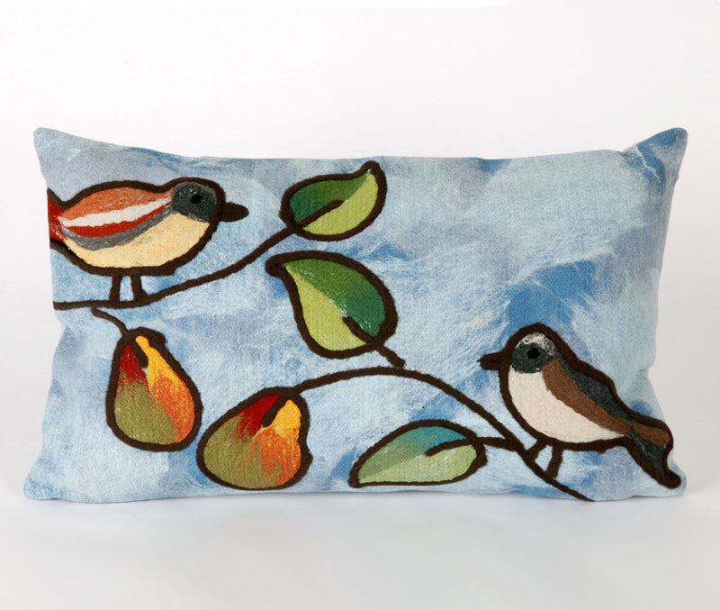 "Song Birds Blue 12"" x 20"" Indoor Outdoor Pillow"