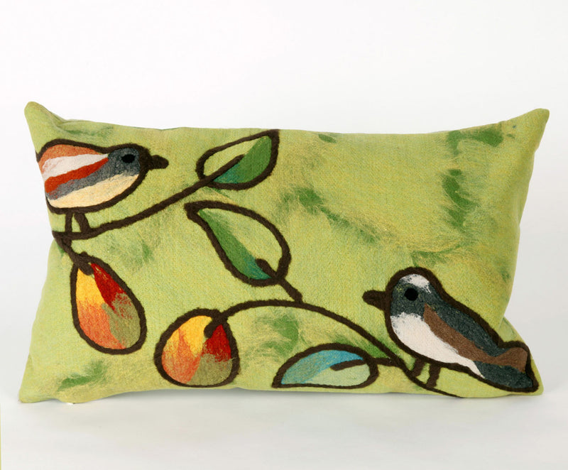 "Song Birds Green 12"" x 20"" Indoor Outdoor Pillow"