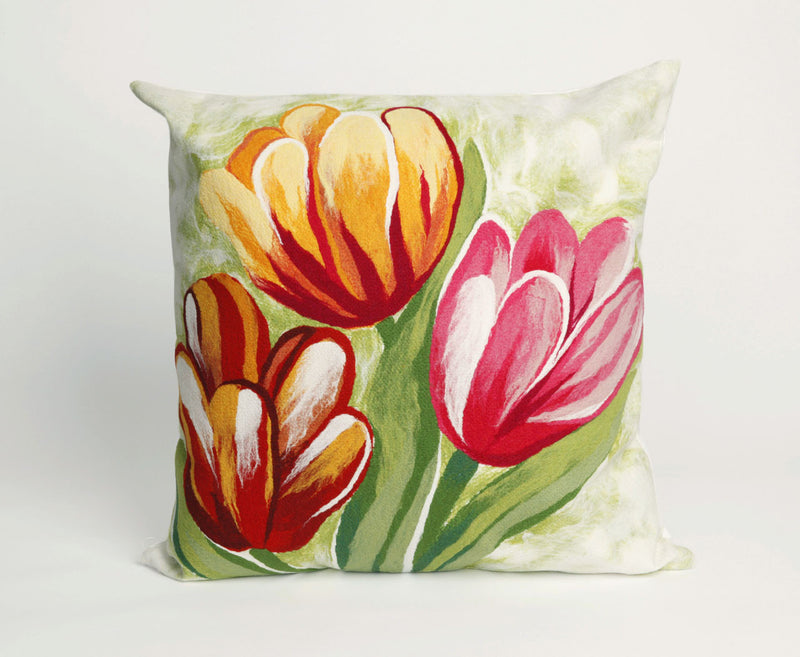 "Tulips Warm 20"" Square Indoor Outdoor Pillow"