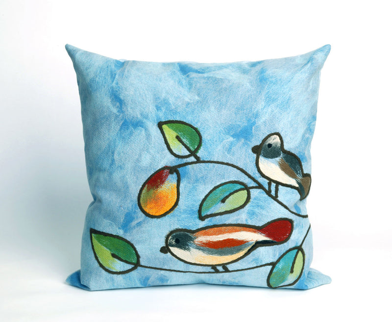 "Song Birds Blue 20"" Square Indoor Outdoor Pillow"