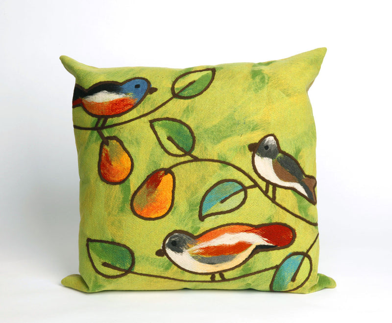 "Song Birds Green 20"" Square Indoor Outdoor Pillow"