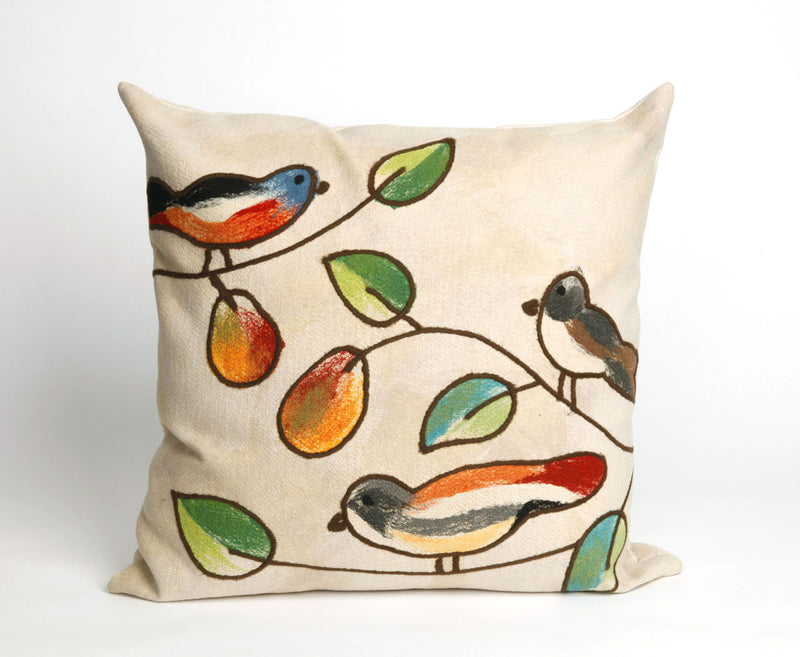 "Song Birds Cream 20"" Square Indoor Outdoor Pillow"