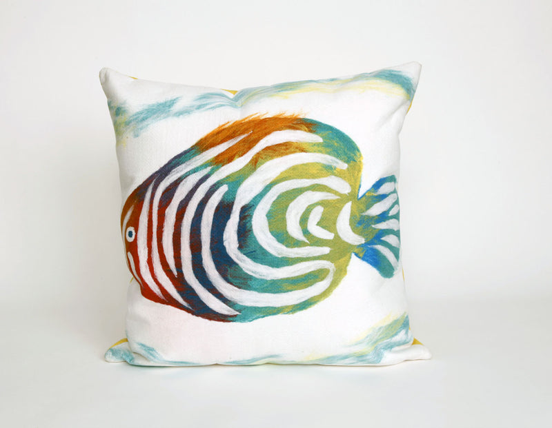 "Rainbow Fish Pearl 20"" Square Indoor Outdoor Pillow"