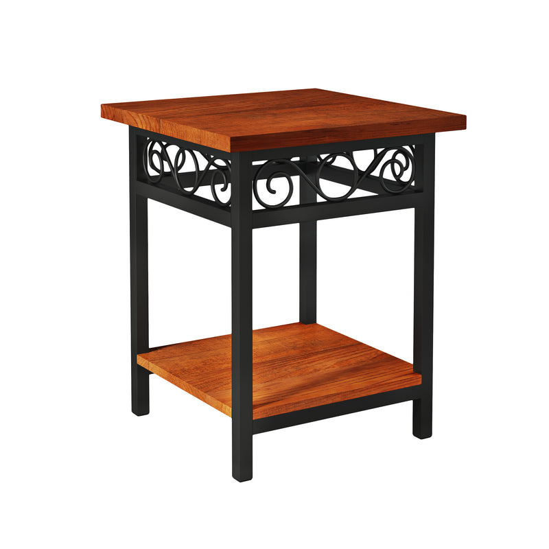 Whitby Chestnut Wood and Metal Scroll End Table