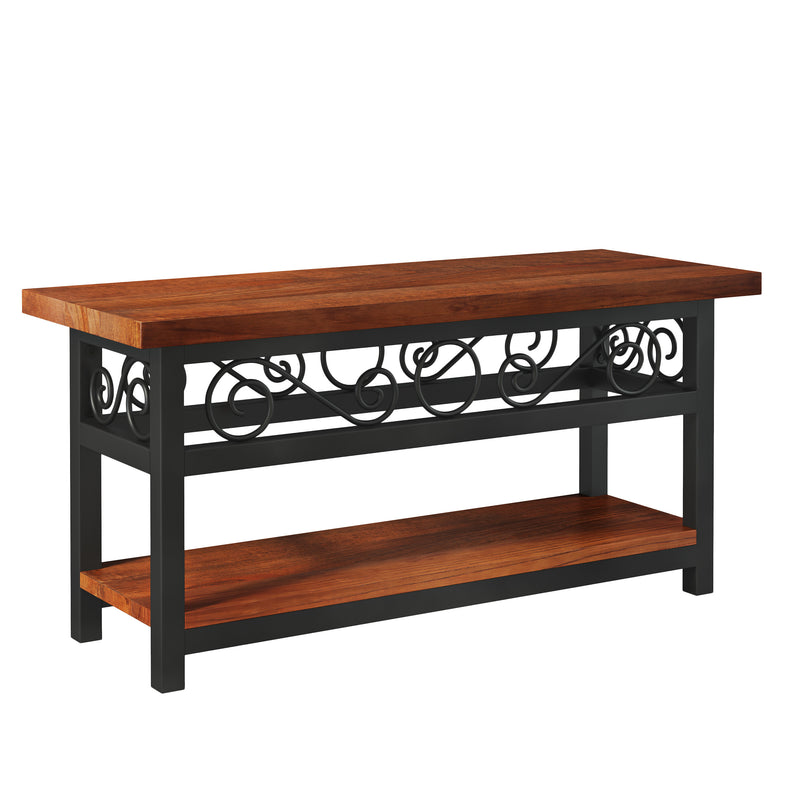 Whitby Chestnut Wood and Metal Scroll Bench