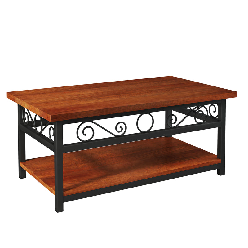 Whitby Chestnut Wood and Metal Scroll Coffee Table