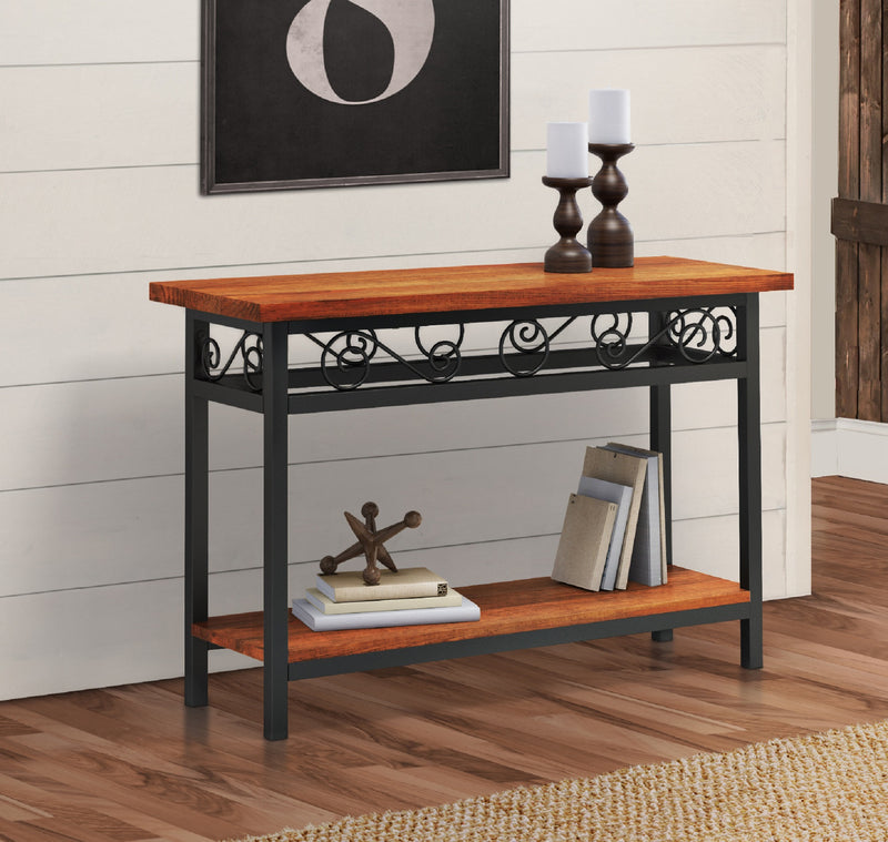 Whitby Chestnut Wood and Metal Scroll Console Table