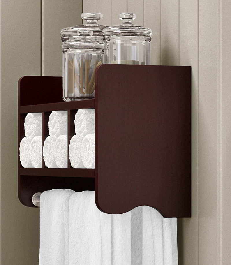 25-inch Bath Shelf with Towel Rod