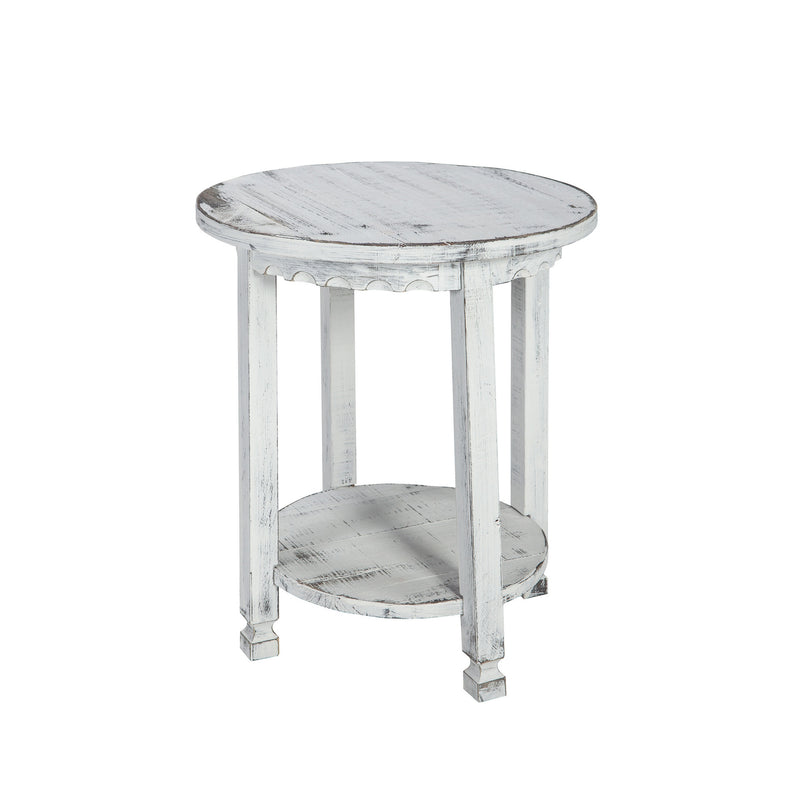 Berkshire Antique Finish 1-Shelf Round End Table