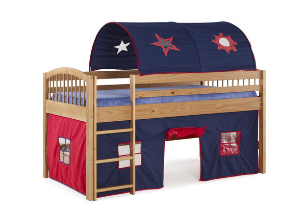 Ashford Kids Loft Bed with Tent and Playhouse - Blue/Natural