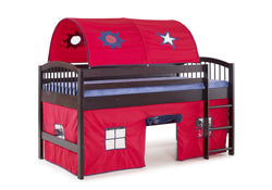 Ashford Kids Loft Bed with Tent and Playhouse - Red/Espresso