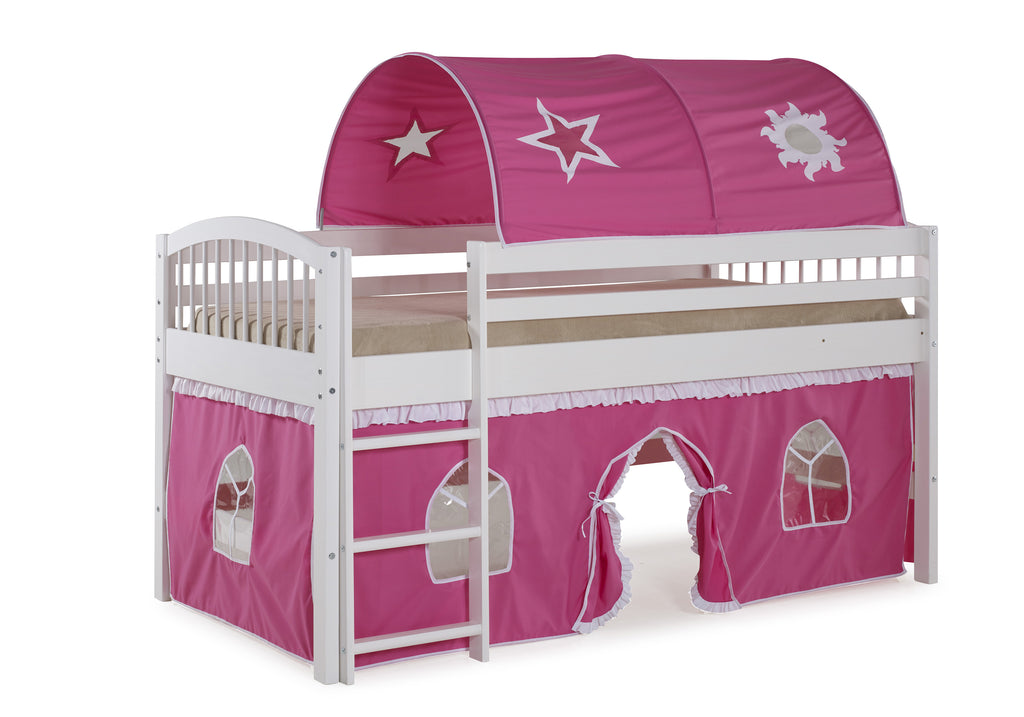 Ashford Kids Loft Bed with Tent and Playhouse - Pink/White