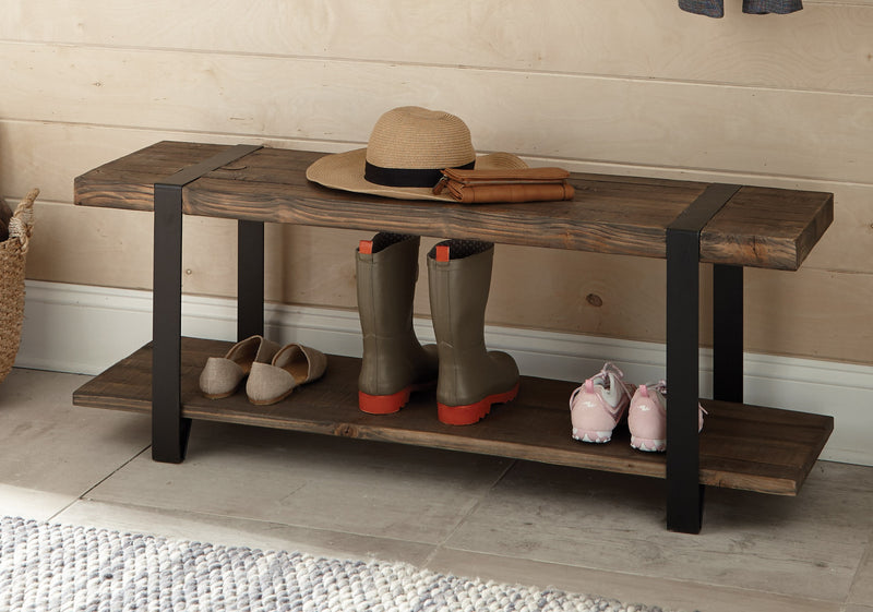 Foxford Reclaimed Wood and Metal Entryway Bench