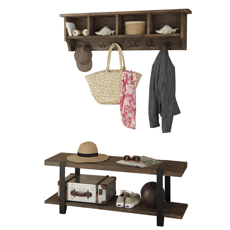 Foxford Reclaimed Wood Storage Wall Coat Hook and Bench Set