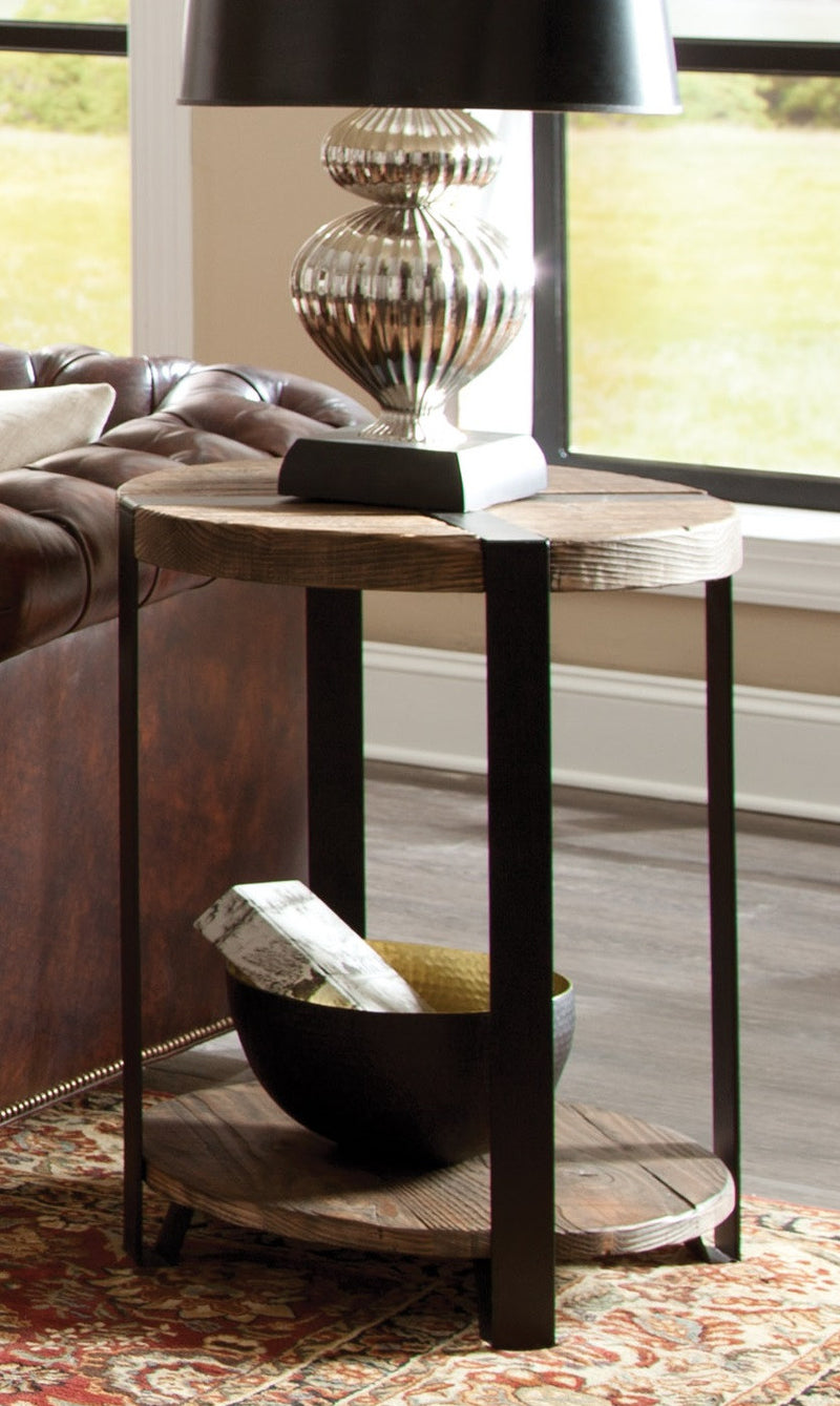 Foxford 20-inch Reclaimed Wood and Metal Round End Table
