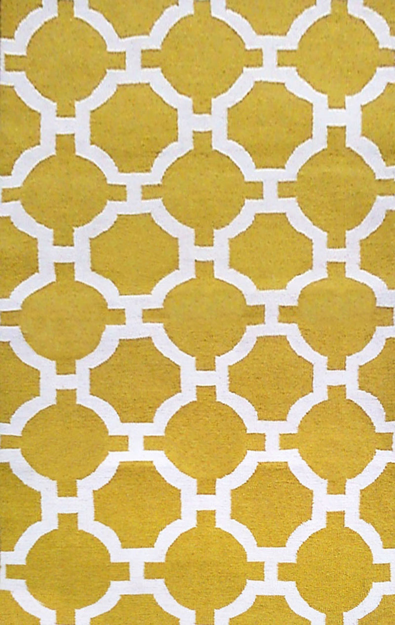 "Tile Yellow 24"" x 8' Indoor/Outdoor Flatweave Rug"