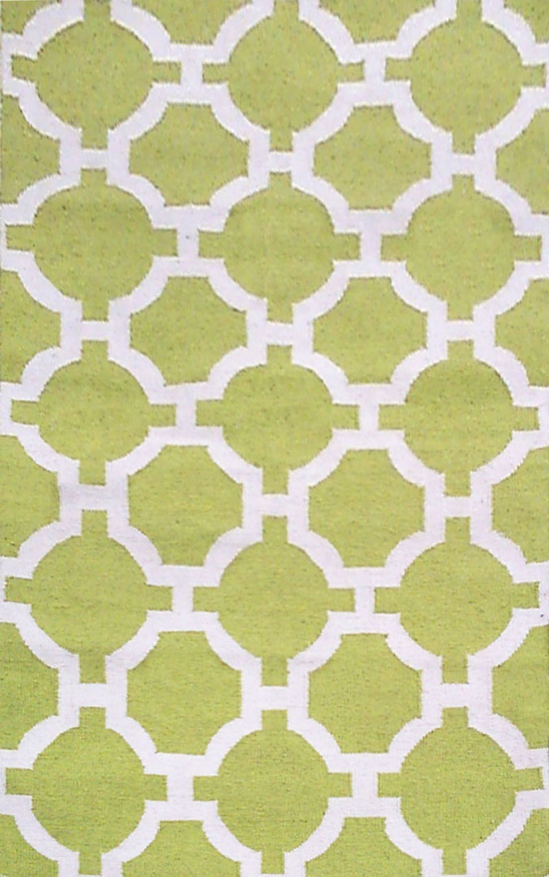 "Tile Lime 24"" x 8' Indoor/Outdoor Flatweave Rug"