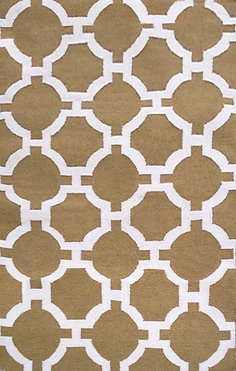 "Tile Khaki 24"" x 8' Indoor/Outdoor Flatweave Rug"
