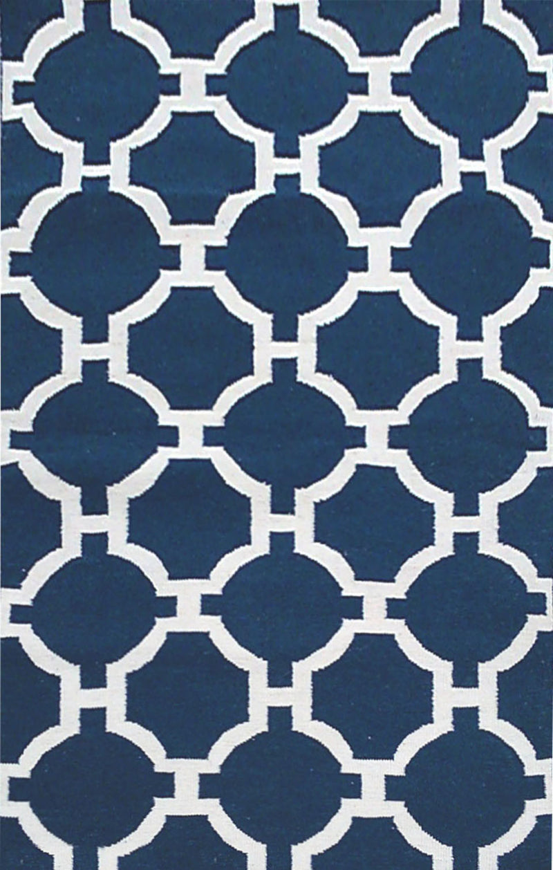 "Tile Navy 42"" x 66"" Indoor/Outdoor Flatweave Rug"