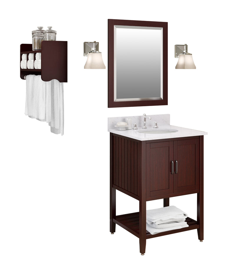 Adelino Espresso Bath Vanity Set with Shelf/Mirror