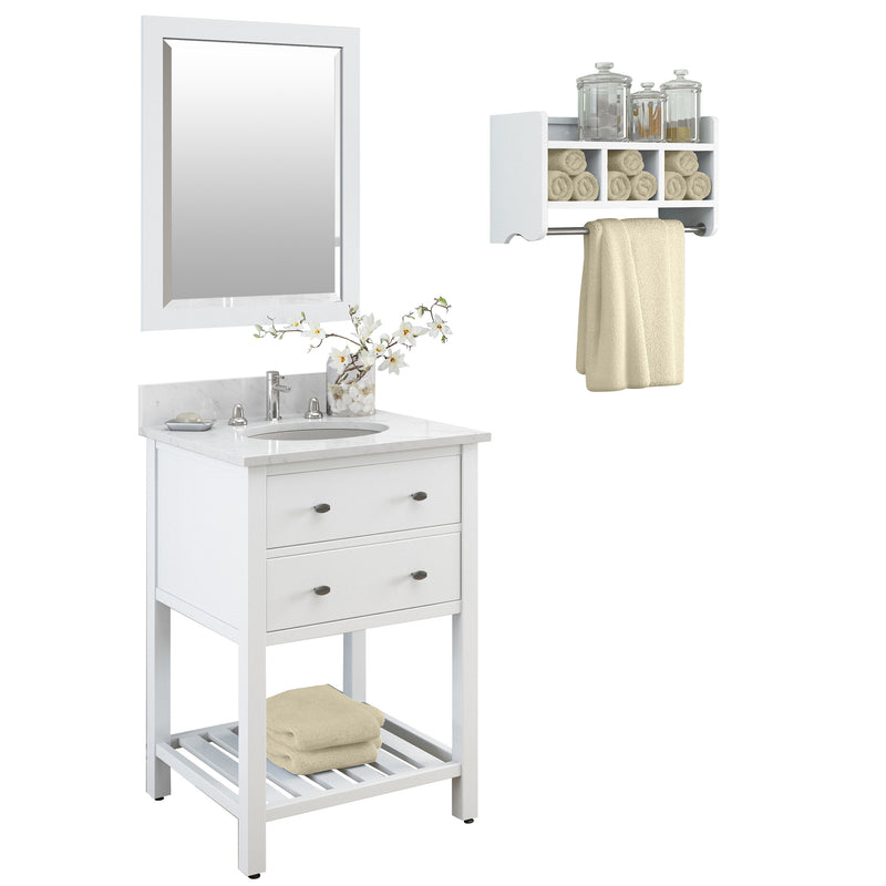 Lovington White Bath Vanity Set with Shelf/Mirror
