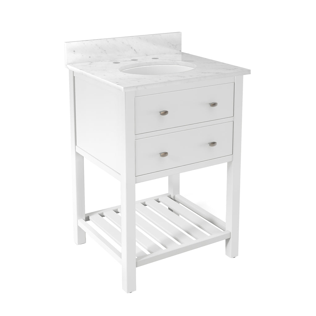Lovington White Bath Vanity with Marble Top