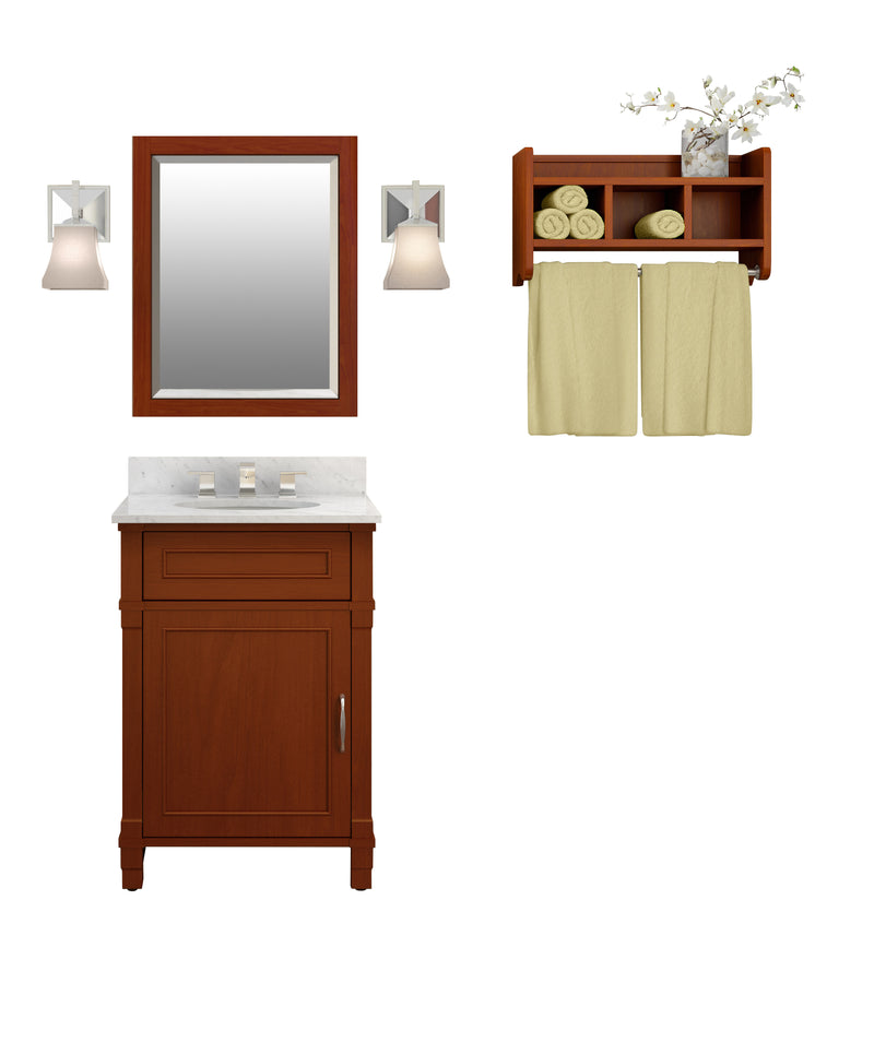 Rosedale Chestnut Bath Vanity Set with Shelf/Mirror