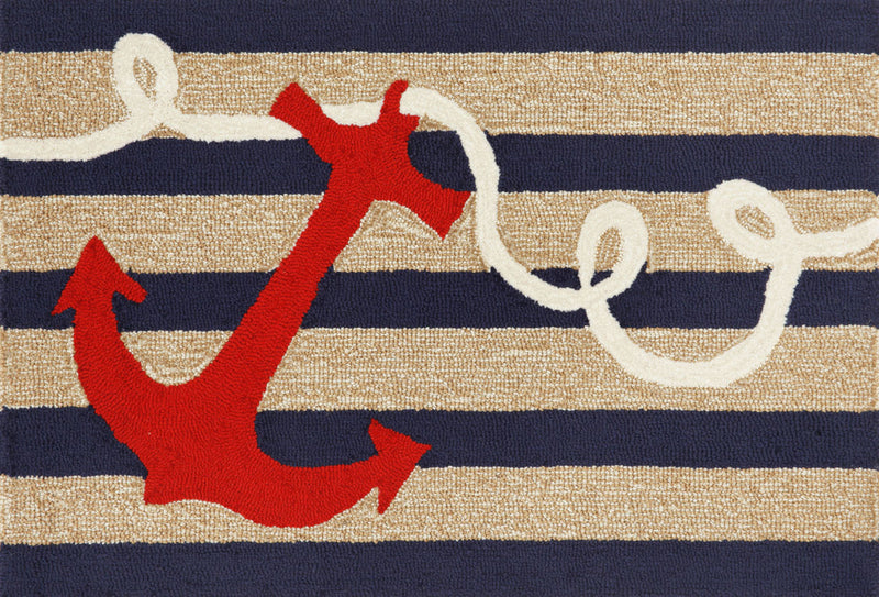"Anchor Navy 24"" x 36"" Indoor/Outdoor Rug"