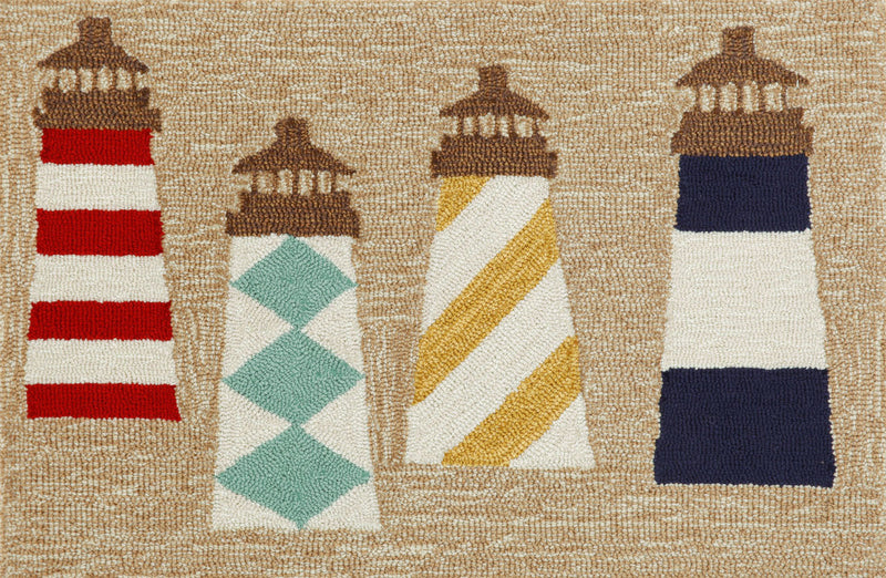 "Lighthouses Natural 24"" x 36"" Indoor/Outdoor Rug"