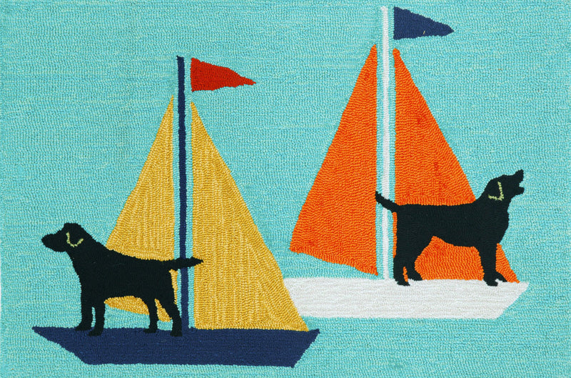 "Sailing Dogs Blue 24"" x 36"" Indoor/Outdoor Rug"