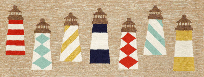 "Lighthouses Natural 27"" x 72"" Indoor/Outdoor Rug"