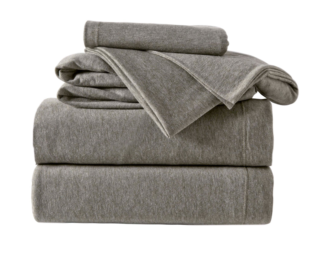 4-Piece Melange Jersey Knit Full Sheet Set