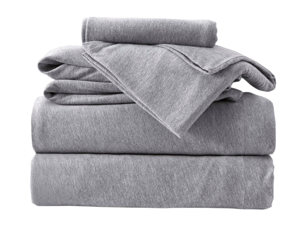 4-Piece Melange Jersey Knit Queen Sheet Set