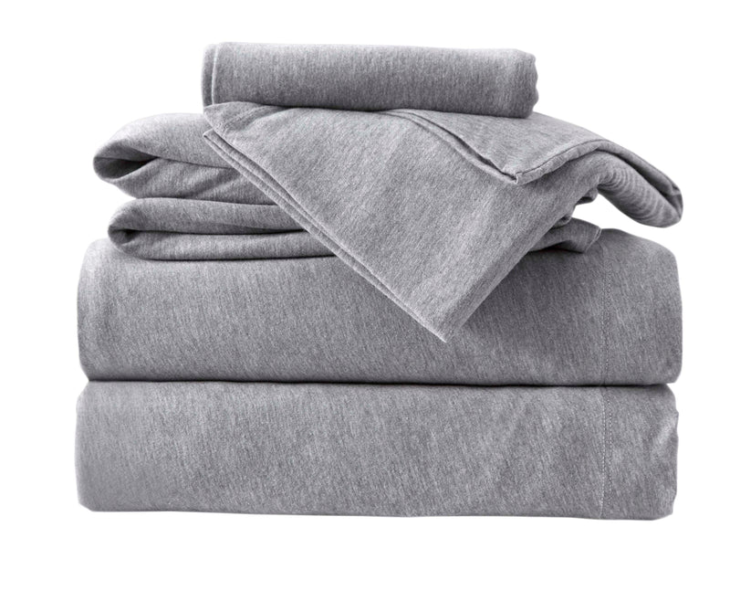 3-Piece Melange Jersey Knit Twin Sheet Set