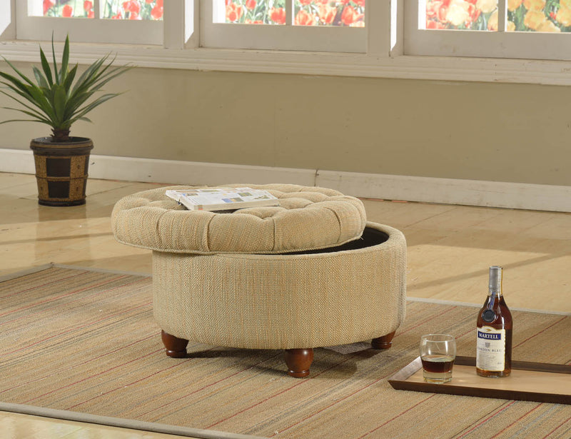 Tufted Tan and Cream Tweed Round Storage Ottoman
