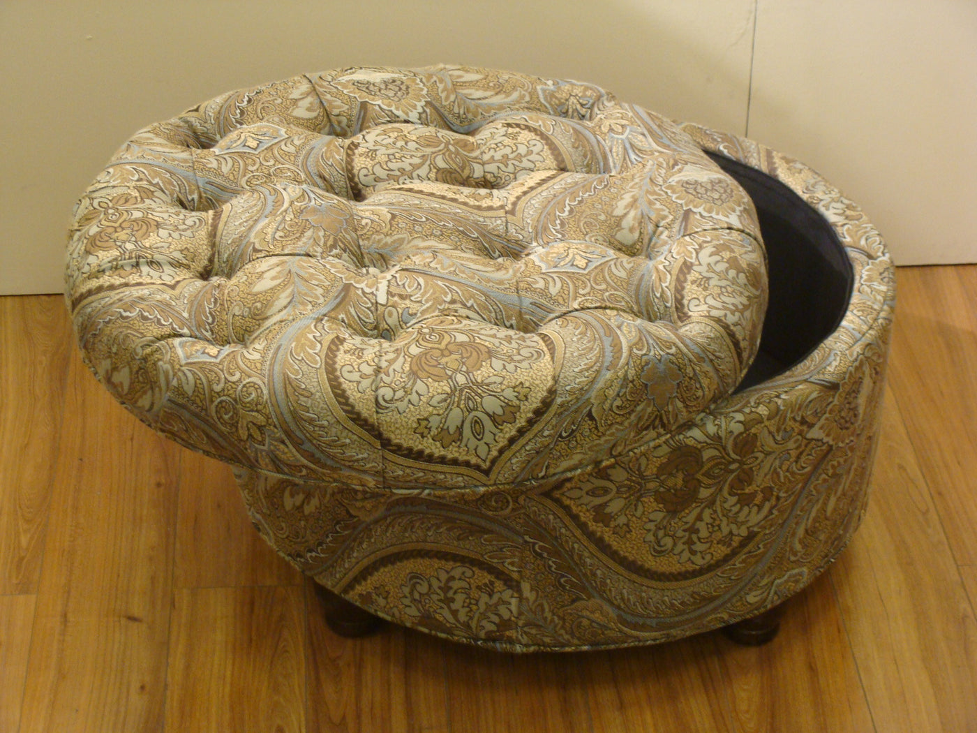 Outstanding Button Tufted Brown And Teal Paisley Round Storage Ottoman Forskolin Free Trial Chair Design Images Forskolin Free Trialorg