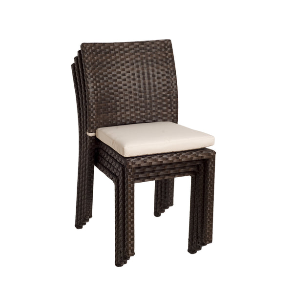 Liberty Wicker Patio Chairs With Off White Cushions   (Set Of 4)
