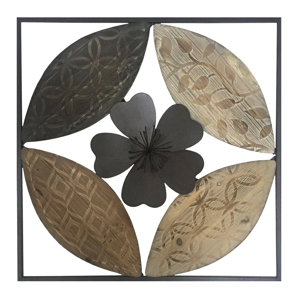 Banbury Carved Wood and Metal Flower Wall Decor