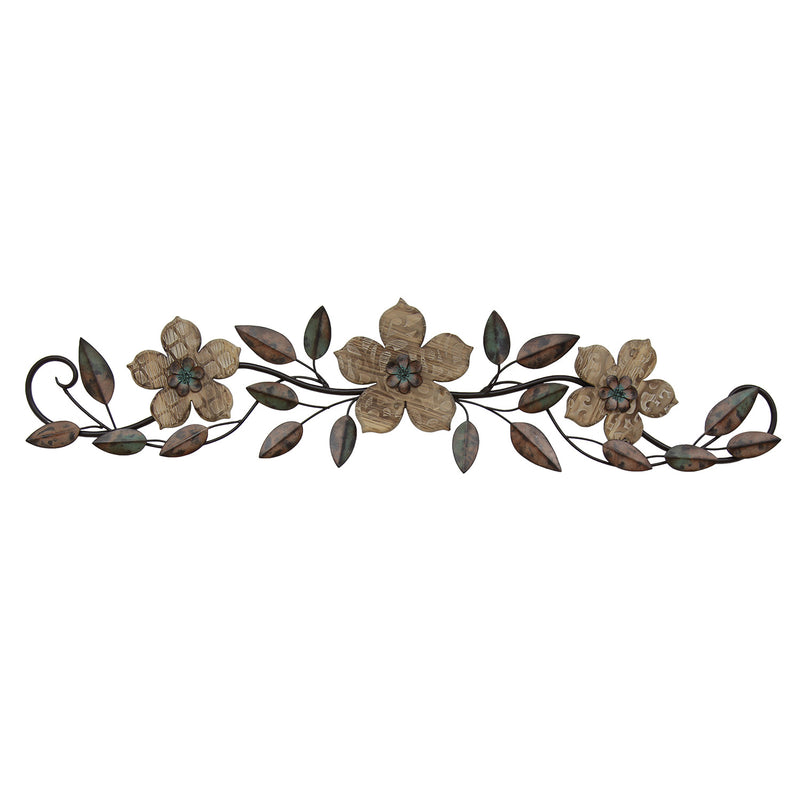 Adalie Wood and Metal Floral Over the Door Wall Decor