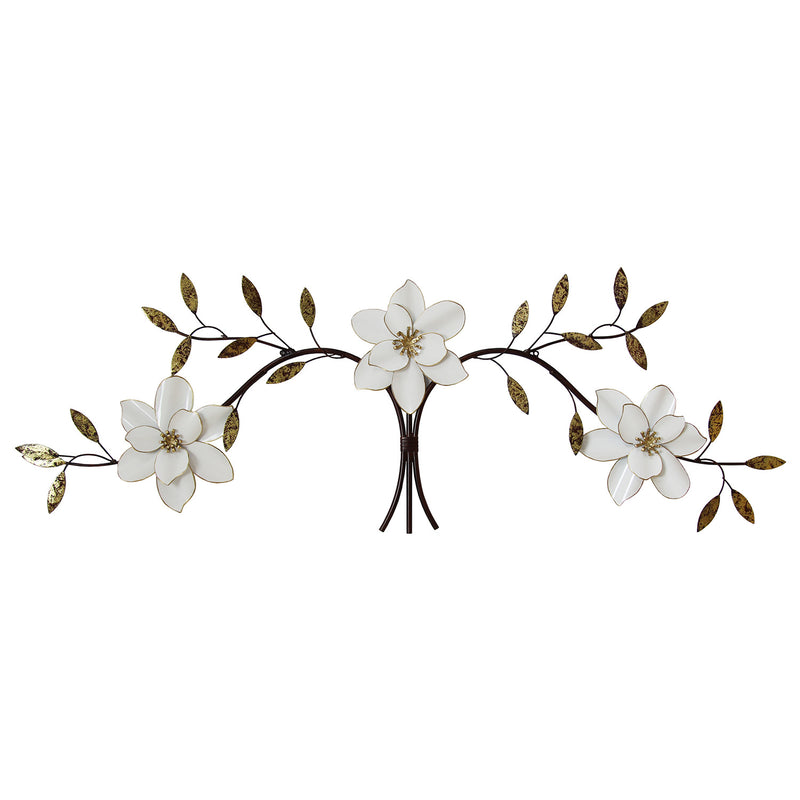 Mandana White Blossoms Over the Door Metal Wall Decor