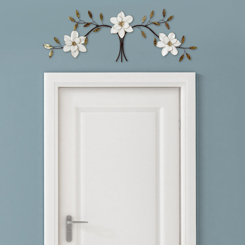 Mandana White Blossoms Over the Door Metal Wall Decor lifestyle