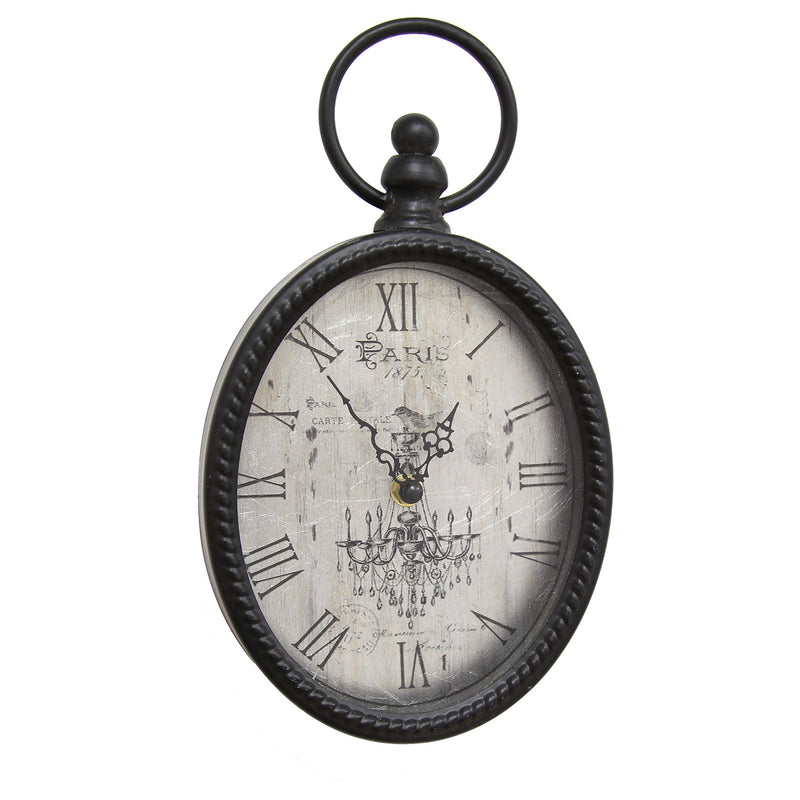 Hatherleigh Antique Black Oval Wall Clock